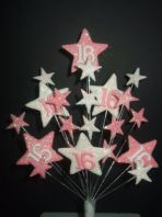 Star age 16th birthday cake topper decoration in pale pink and white - free postage